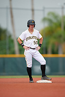 GCL Pirates third baseman Patrick Dorrian (50) stands on second base during the second game of a doubleheader against the GCL Yankees East on July 31, 2018 at Pirate City Complex in Bradenton, Florida.  GCL Pirates defeated GCL Yankees East 12-4.  (Mike Janes/Four Seam Images)