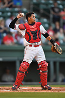 Catcher Isaias Lucena (19) of the Greenville Drive throws back to the pitcher in a game against the Lexington Legends on Wednesday, April 12, 2017, at Fluor Field at the West End in Greenville, South Carolina. Greenville won, 4-1. (Tom Priddy/Four Seam Images)