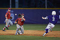 Tom Brady (23) of the NJIT Highlanders waits for the throw as Tim Mansfield (3) of the High Point Panthers attempts to steal second base at Williard Stadium on February 18, 2017 in High Point, North Carolina. The Highlanders defeated the Panthers 4-2 in game two of a double-header. (Brian Westerholt/Four Seam Images)