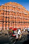 India, Rajasthan, Jaipur: Facade of Hawa Mahal (Palace of the Winds)
