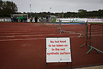 Guernsey 0 Corinthian-Casuals 1, 10/09/2017. Footes Lane, Isthmian League Division One. A warning sign on the edge of the pitch as Guernsey take on Corinthian-Casuals in a Isthmian League Division One South match at Footes Lane. Formed in 2011, Guernsey FC are a community club located in St. Peter Port on the island of Guernsey and were promoted to the Isthmian League Division One South in 2013. The visitors from Kingston upon Thames won the fixture by 1-0, watched by a crowd of 614 spectators. Photo by Colin McPherson.
