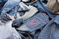 Kathmandu, Nepal.  Blue Jeans for Sale in Sidewalk Market, Downtown Kathmandu.