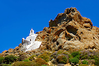Hill top Orthodox cave church above Naxos Thira, Naxos Island, Greek Cyclades Islands