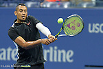 Nick Kyrgios (AUS) loses the first set to Andy Murray (GBR) 7-5 at the US Open in Flushing, NY on September 1, 2015.