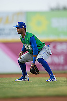 Lexington Legends second baseman Jecksson Flores (1) on defense against the Hickory Crawdads at L.P. Frans Stadium on April 29, 2016 in Hickory, North Carolina.  The Crawdads defeated the Legends 6-2.  (Brian Westerholt/Four Seam Images)
