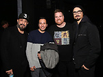 """AJ McLean, Howie Dorough and Kevin Richardson from the Backstreet Boys backstage with Nick Kohn from the cast and crew of  """"Avenue Q""""  at the New World Stages on January 27, 2019 in New York City."""