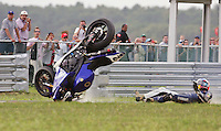 Ben Bostrum crashes out of the AMA Pro Superbike Championship weekend at New Jersey Motorsports Park, in Millville, NJ on Sunday, September 6, 2009.  (Photo by Brian Cleary/www.bcpix.com)