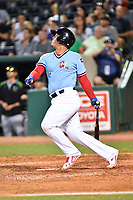 Northern Divisions catcher Yohel Pozo (3) of the Hickory Crawdads swings at a pitch during the South Atlantic League All Star Game at First National Bank Field on June 19, 2018 in Greensboro, North Carolina. The game Southern Division defeated the Northern Division 9-5. (Tony Farlow/Four Seam Images)