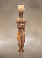 Female Cycladic statue figurine with folded arms of the Spedos and Dokathismata type. Early Cycladic Period II (2800-3200) from Naxos. National Archaeological Museum, Athens. <br /> <br /> This Cycladic statue figurine is of the Spedos type standing on tip tie with bended knees and arms folded under the breasts with head raiised.