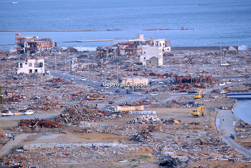 Minamisanriku, Myiagi, Japan May 16, 2011. The fishing port of Minamisanriku, was devastated after the March 11th Tsunami when the popultion was reduced from 18,000 to about 8,000 as 10,0000 where washed out to sea.<br /> <br /> Photo by Richard Jones/ Sinopix