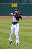 Cedar Rapids Kernels outfielder Trey Cabbage (25) warms up prior to a Midwest League game against the Kane County Cougars on April 21, 2018 at Perfect Game Field at Veterans Memorial Stadium in Cedar Rapids, Iowa. Kane County defeated Cedar Rapids 9-2. (Brad Krause/Four Seam Images)