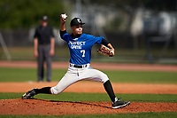 Pitcher Felix Mateo (7) during the Perfect Game National Underclass East Showcase on January 23, 2021 at Baseball City in St. Petersburg, Florida.  (Mike Janes/Four Seam Images)