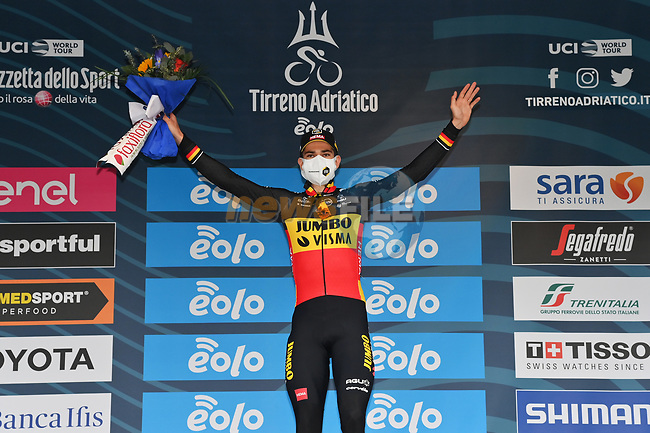 Belgian Champion Wout Van Aert (BEL) Team Jumbo-Visma wins Stage 7 of Tirreno-Adriatico Eolo 2021, an individual time trial running 10.1km around San Benedetto del Tronto, Italy. 16th March 2021. <br /> Photo: LaPresse/Gian Mattia D'Alberto   Cyclefile<br /> <br /> All photos usage must carry mandatory copyright credit (© Cyclefile   LaPresse/Gian Mattia D'Alberto)