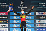 Belgian Champion Wout Van Aert (BEL) Team Jumbo-Visma wins Stage 7 of Tirreno-Adriatico Eolo 2021, an individual time trial running 10.1km around San Benedetto del Tronto, Italy. 16th March 2021. <br /> Photo: LaPresse/Gian Mattia D'Alberto | Cyclefile<br /> <br /> All photos usage must carry mandatory copyright credit (© Cyclefile | LaPresse/Gian Mattia D'Alberto)