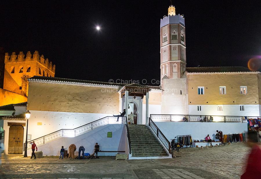 Chefchaouen, Morocco.  Muhammad VI Mosque at Night, Plaza Outa El-Hammam.
