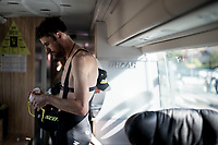 race prep in the Mitchelton-Scott teambus<br /> <br /> Stage 17: Aranda de Duero to Guadalajara (220km)<br /> La Vuelta 2019<br /> <br /> ©kramon
