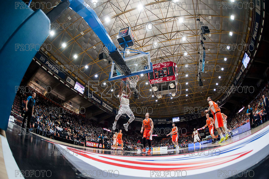 VALENCIA, SPAIN - NOVEMBER 3: Josh Owens during EUROCUP match between Valencia Basket Club and CAI Zaragozaat Fonteta Stadium on November 3, 2015 in Valencia, Spain