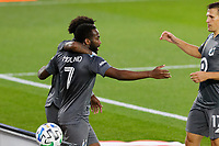ST PAUL, MN - SEPTEMBER 9: Kevin Molino #7 of Minnesota United FC celebrates a goal during a game between FC Dallas and Minnesota United FC at Allianz Field on September 9, 2020 in St Paul, Minnesota.