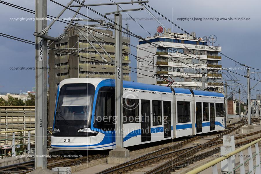 ETHIOPIA , Addis Ababa, LRT Light rail transport, green line, build by chinese company  / AETHIOPIEN, Addis Abeba, Stadtbahn Linie, gebaut durch chinesische Firma