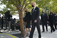 United States President Joe Biden and first lady Dr. Jill Biden with US Vice President Kamala Harris and second gentleman Doug Emhoff arrive at a wreath laying ceremony at National 9/11 Memorial at the Pentagon in Washington on September 11, 2021. <br /> CAP/MPI/RS<br /> ©RS/MPI/Capital Pictures