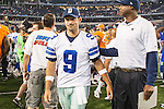 Dallas Cowboys quarterback Tony Romo (9) after the pre-season game between the Denver Broncos and the Dallas Cowboys at the AT & T stadium in Arlington, Texas. Denver defeats Dallas 27 to 3.