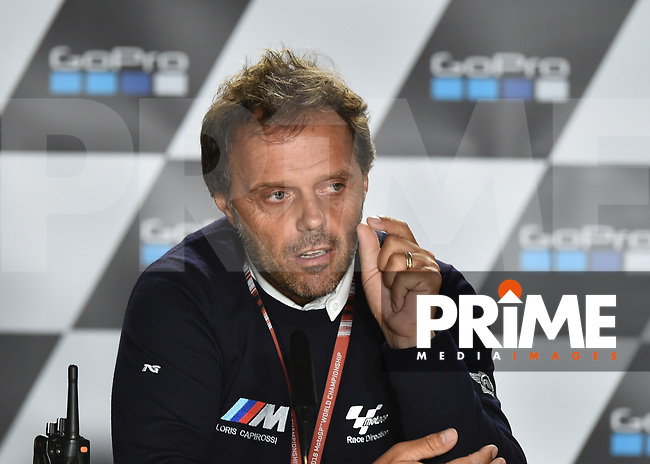 Loris Capirossi during press conference to explain Motogp race cancellation during the MotoGP of Great Britain at the Silverstone Circuit, Silverstone, England on 26 August 2018. Photo by Vince Mignott.