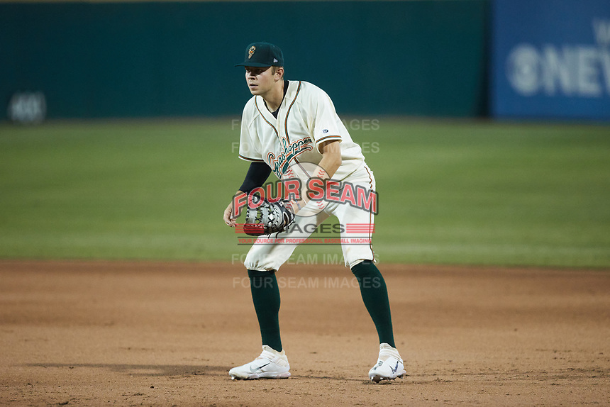 Greensboro Grasshoppers first baseman Will Matthiessen (46) on defense against the Wilmington Blue Rocks at First National Bank Field on May 25, 2021 in Greensboro, North Carolina. (Brian Westerholt/Four Seam Images)