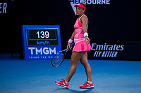 9th February 2021, Melbourne, Victoria, Australia; Danka Kovinic of Montenegro shows her frustration after losing a game during round 1 of the 2021 Australian Open on February 9 2020, at Melbourne Park in Melbourne, Australia.