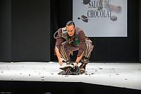 Laurent Maistret portant la robe de Cassandra Allaire et Jean Luc Decluzeau au Salon du Chocolat coiffure Franck Provost maquillage Make Up For Ever Paris 2017 - SALON DU CHOCOLAT 2017, 27/10/2017, PARIS, FRANCE
