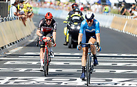 8th July 2021; Nimes, France; SWEENY Harrison (AUS) of LOTTO SOUDAL & ERVITI Imanol (ESP) of MOVISTAR TEAM during stage 12 of the 108th edition of the 2021 Tour de France cycling race, a stage of 159,4 kms between Saint-Paul-Trois-Chateaux and Nimes.