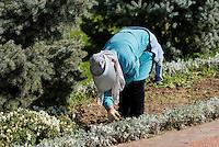 Arbeiterinnnen am Platz der Unabhängigkeit (Mustaqillik Maydoni), Taschkent, Usbekistan, Asien<br /> Gardener at square of independence (Mustaqillik Maydoni), Tashkent, Uzbekistan, Asia