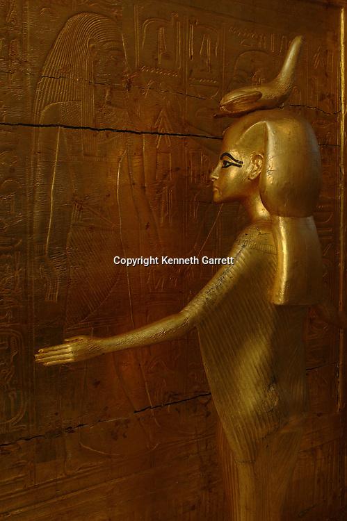 Goddess Selket, Tutankhamun gold canopic shrine, Egypt, New Kingdom, Valley of the Kings, Egyptian Museum, Cairo