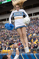 North Carolina cheerleader. The North Carolina Tar Heels defeated the Pitt Panthers 34-27 at Heinz Field, Pittsburgh Pennsylvania on November 16, 2013.