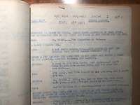 BNPS.co.uk (01202) 558833. <br /> Pic: WRHarvey&Co/BNPS<br /> <br /> Pictured: A script marked 'Arthur Haynes Show 2 No1' dated Sept 18th 1957. <br /> <br /> Sale of the Century..<br /> <br /> A treasure trove of scripts, notes and diaries covering much of the career of the late entertainer Nicholas Parsons has been uncovered. <br /> <br /> The legendary star of radio and TV kept the riveting collection of documents in pristine order, bound in 32 volumes.<br /> <br /> The archive includes his working scripts for comedy sketches for The Arthur Haynes Show in the 1950s and '60s and his one-man stage show performances in the '70s.