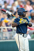 Michigan Wolverines second baseman Ako Thomas (4) on deck against the Vanderbilt Commodores during Game 3 of the NCAA College World Series Finals on June 26, 2019 at TD Ameritrade Park in Omaha, Nebraska. Vanderbilt defeated Michigan 8-2 to win the National Championship. (Andrew Woolley/Four Seam Images)