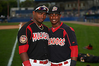 Batavia Muckdogs Yuniel Ramirez (43) and Isael Soto (21) pose for a photo before a game against the Auburn Doubledays on September 5, 2015 at Dwyer Stadium in Batavia, New York.  Batavia defeated Auburn 6-3.  (Mike Janes/Four Seam Images)