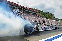 Jun. 17, 2012; Bristol, TN, USA: NHRA top fuel dragster driver Antron Brown during the Thunder Valley Nationals at Bristol Dragway. Mandatory Credit: Mark J. Rebilas-