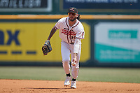 Richmond Flying Squirrels first baseman Frankie Tostado (10) on defense against the Bowie Baysox at The Diamond on July 28, 2021, in Richmond Virginia. (Brian Westerholt/Four Seam Images)