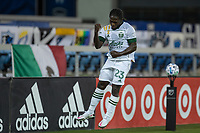 SAN JOSE, CA - SEPTEMBER 16: Yammi Chara #23 of the Portland Timbers celebrates scoring a goal during a game between Portland Timbers and San Jose Earthquakes at Earthquakes Stadium on September 16, 2020 in San Jose, California.