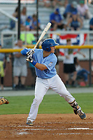 Burlington Royals catcher Chris Hudgins (27) at bat during a game against the Kingsport Mets at Burlington Athletic Complex on July 28, 2018 in Burlington, North Carolina. Burlington defeated Kingsport 4-3. (Robert Gurganus/Four Seam Images)