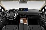 Stock photo of straight dashboard view of 2021 Genesis GV80 Advanced 5 Door SUV Dashboard