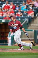 Frisco RoughRiders catcher Jorge Alfaro (8) at bat during a game against the Springfield Cardinals on June 3, 2015 at Hammons Field in Springfield, Missouri.  Springfield defeated Frisco 7-2.  (Mike Janes/Four Seam Images)