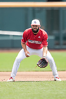 Louisville Cardinals third baseman Alex Binelas (13) on defense during Game 7 of the NCAA College World Series against the Auburn Tigers on June 18, 2019 at TD Ameritrade Park in Omaha, Nebraska. Louisville defeated Auburn 5-3. (Andrew Woolley/Four Seam Images)