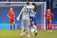 2nd May 2021; Kingsmeadow, London, England;  Carina Wenninger FCBand Hanna Glas FCB show their frustration at full time in the UEFA Womens Champions League, Chelsea FC versus FC Bayern Munich