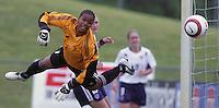June 26, 2005; Virginia Beach, VA, USA;  Canada's goalkeeper, Karina LeBlanc (1) watches the ball sail past her at the Virginia Beach SportsPlex.  The USWNT won, 2-0.