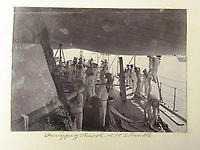 BNPS.co.uk (01202) 558833<br /> Pic: Charles Miller/BNPS<br /> <br /> HMS Terrible crew hard at work on the the deck<br /> <br /> A fascinating photo album compiled by a British naval officer on tour in the Far East at the turn of the 20th century has come to light.<br /> <br /> Taprell Dorling served on the HMS Terrible in 1900 at the start of an over 30 year career at sea.<br /> <br /> The album, containing 74 photos, has emerged for sale with auctioneers Charles Miller, of London, with an estimate of £3,000.