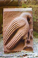 Norman Romanesque exterior corbel no 62 - sculpture of a large bird of prey. The Norman Romanesque Church of St Mary and St David, Kilpeck Herefordshire, England. Built around 1140