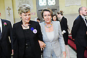 Cokie Roberts escrots US Rep Nancy Pelosi at former US Rep. Lindy Boggs'  funeral at St. Louis Cathedral, New Orleans, Aug. 1, 2013.