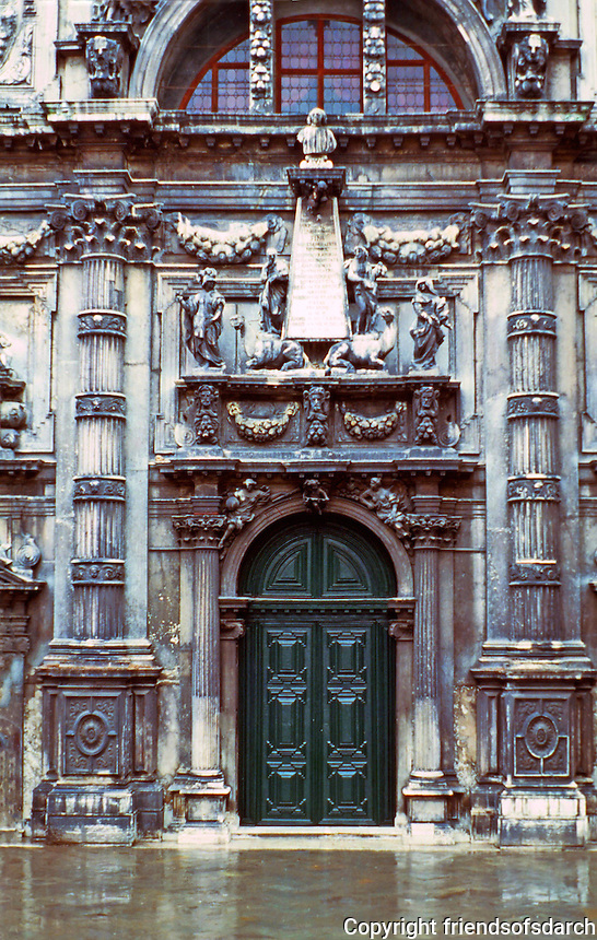 Venice:  San Moise Church, dedicated to Moses. Baroque facade with elaborate carvings. Door,1668.  Photo  '83.