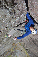 """""""One of the defining trad-lines of the country, and a milestone in every British climber's career."""" <br /> Climber on Cenotaph Corner E1 5c, Llanberis Pass, North Wales, United Kingdom"""